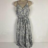 Sienna Sky Womens XS White Black Tropical Leaf Button Closure Maxi Dress