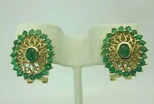 New 14K Yellow Gold and Emerald Earrings 1.76 ct Filigree Style Oval