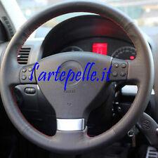 VW GOLF 5 rivestimento volante in VERA PELLE NERA traforata CUCITURE ROSSE
