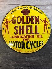 "GOLDEN SHELL OIL AND GASOLINE PORCELAIN 6"" GAS Pump / Lubester Sign. DOMED 3D"