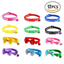 12 PCS Lot Wholesale Dog Collar Pet Puppy Cat Nylon Necklace W/ Bell XSmall Size