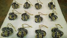 12 HANDMADE CHRISTMAS ORNAMENTS MADE WITH BLING GOLD / BLACK NEW ORLEANS SAINTS
