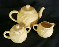 Bordallo Pinheiro Yellow Floral Teapot, Covered Sugar Bowl and Creamer - Tea Set