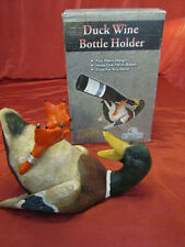 Rivers Edge , Hand Painted, Mallard Duck Wine Bottle Holder Cabin Decor