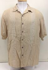 Caribbean Joe XL Tan Light Brown Beige 100% Rayon Leaf Leaves Design