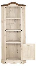 Eckschrank Massivholz antik Weiß gewachst 1 Tür