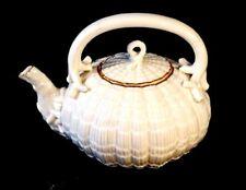 Beautiful Belleek Second Black Mark Tridacna Gold Trim Teapot