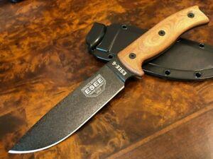 ESEE Knives ESEE 6 Black Blade Natural Canvas Micarta 3D Handle 6PB-011