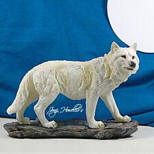 More details for wolf ornament figurine sculpture statue winter white watcher home decor art gift