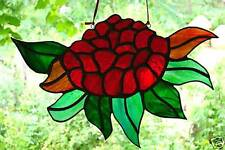 Hand Crafted WARATAH in STAINED GLASS LEADLIGHT shades of red, green & amber