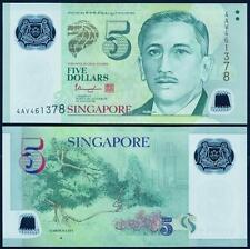 Singapore 5 Dollars ND(2014) UNC**New - Polymer (1 Triangle)