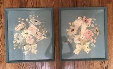 "Vintage Hand colored Litho Print, Bernard Picture, NYC 17x19"" Floral"