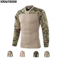 ESDY Mens Army Military Combat T-shirt Tactical Casual Pullover Shirt Camouflage