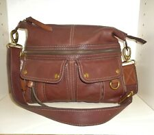 Fossil Long Live Vintage Pebbled Leather Crossbody Brown