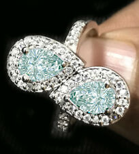2.55ct vs1'=WHITE ICE BLUE MOISSANITE DIAMOND PEAR & ROUND.925 SILVER RING