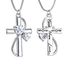Letter Handmade Faith Hope Love Cross Double-sided Womens Heart Necklace Pendant