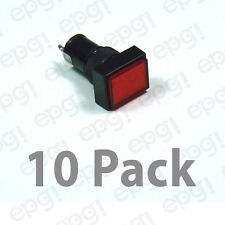10 PACK - 12mm RECTANGULAR LED PANEL MOUNT LAMP -  RED LENS 3VDC-12VDC  #NN12RR