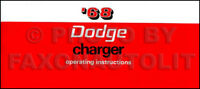 1968 Dodge Charger and RT Owners Manual Operating Instructions Owner Guide 68