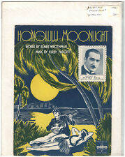 Rare  Original Vintage 1931 Honolulu Moonlight Hawaii Piano Sheet Music Print