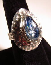 Attractive Navy Fluorite Silver Plated Ring Size 9.75       FLUR3
