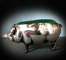 WONDERFUL STERLING SILVER NOVELTY PIN CUSHION as a  FLOPPY EARED PIG - 1913
