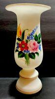 VNTG Fenton? Hand Painted Floral Pink Orange Green  Frosted Glass Pedestal Vase
