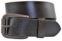 Full Grain Solid Leather Belt w/Antique Brass Roller Buckle - Brown -TBS3202-200