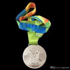 OLYMPIC 2016 RIO BRAZIL SOUVENIR COMMEMORATIVE SILVER MEDAL - NOT PIN USA SELLER