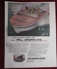 EVINRUDE STAFLITE 75 MOTOR 1960 BOAT MAGAZINE ADVERTISING SALES AD REPRODUCTION