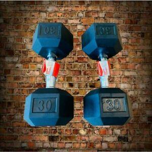 30 lb Dumbbells Pair 60 lbs Total Weights Weider Hex Rubber Set FAST Shipping