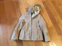 Outbrook Womens Tan Beige 100% Leather Jacket Coat with Hood - Sz M (8-10)