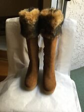 UGG Valberg Genuine Shearling Toscana Fur Cuff Wedge Chestnut Boot Size 8.5