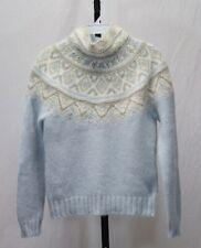 Lauren Ralph Lauren Blue Angora Wool Blend Fair Isle Mock Collar Size Petite