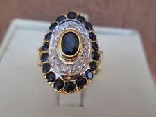 anello oro giallo 18.kt zaffiri k1,80 diamanti kt 0,12