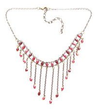 Magnificent Ruby Red Plastic Crystal & Bronze Chain V Fringed Necklace(Zx13/220)