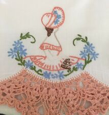 Crochet Hand Embroidered Pillowcases Vintage Southern Belle Pair