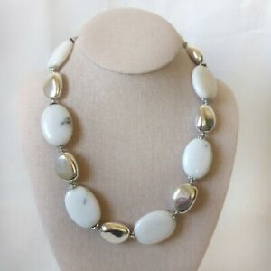 Myrna Lee Chang Hawaii White Onyx and Pewter Necklace