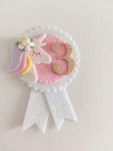 Unicorn Birthday Badge Handmade Birthday Badge Girls Birthday Badge Rosette