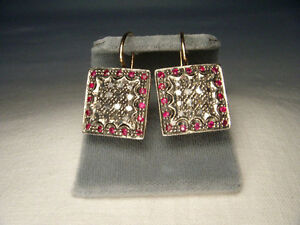 Gorgeous Antique 14K Pink Gold Rose Cut Diamond Ruby Dangle Drop Earrings