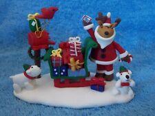 Reindeer Santa Claus With Sled, Presents, Dogs, Bird, Mailbox Christmas Figurine