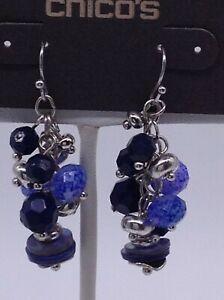 "Chico's "" CHRISTI "" blue dangle earrings NWTS"
