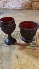 Vintage Avon Red Cape Cod Stem Water Goblet & Sugar Bowl