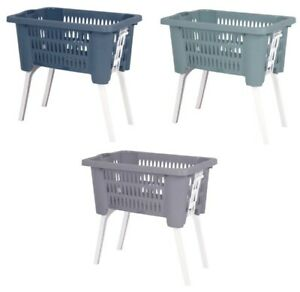 Large Rattan Plastic Laundry Basket With Retractable Feet Large Washing Basket