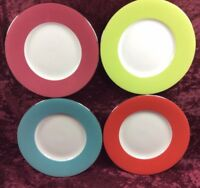 4 Crate & Barrel Party Plates Dessert Appetizer Bangladesh Red Blue Green