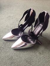 Gorgeous Brand New Silver Mirror Pointed Shoes Stilettos Heels Wide Fit Size 5