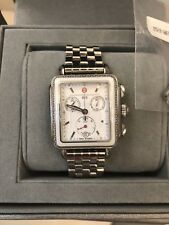 Michele Deco Diamond Silver & White Ceramic Watch (Large 33mm 35mm)