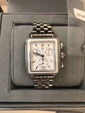 Michele Deco Diamond Silver & White Ceramic Watch