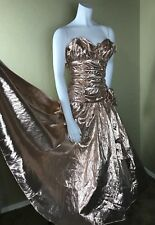 Vtg 80s/50s PARTY Prom Midi Wild Child Metallic Ruched Ruffles Sweetheart Dress