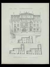BORDEAUX, MAISON CANTONALE - 1898 - PLANCHE ARCHITECTURE - POMPIERS, LAHAURE
