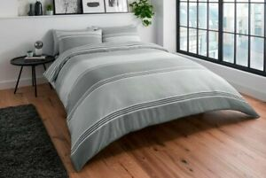 Banded Stripe Grey Duvet Cover Set With Pillowcases Size Double